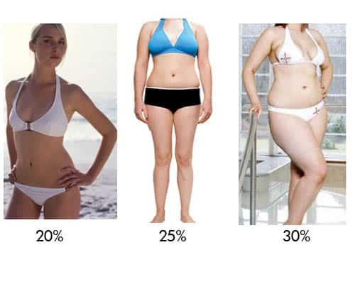 porcentajes elevados de grasa corporal en mujeres